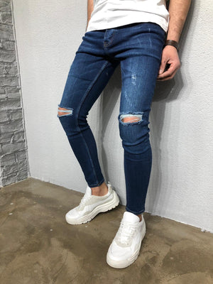 Navy Ripped Denim BL262 Streetwear Jeans - Sneakerjeans