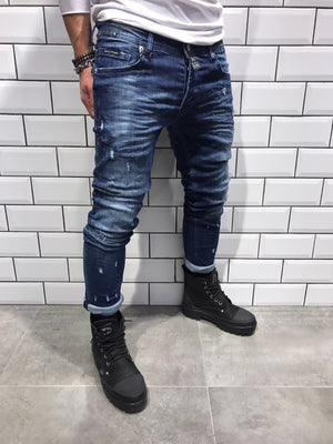 Distressed Rivet Slim Fit Denim B6 Streetwear Denim Jeans - Sneakerjeans