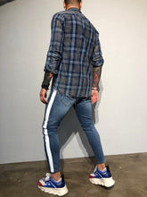 Load image into Gallery viewer, Blue Checkered Oversized Shirt B352 Streetwear Shirt
