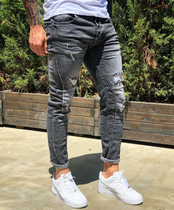 Black Distressed Skinny Fit Denim B260 Streetwear Jeans