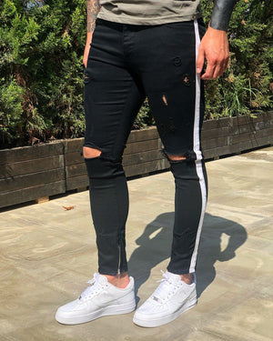 Black Distressed Side Striped Skinny Fit Denim B248 Streetwear Jeans - Sneakerjeans