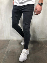Load image into Gallery viewer, Black Distressed Skinny Fit Denim AY374 Streetwear Jeans