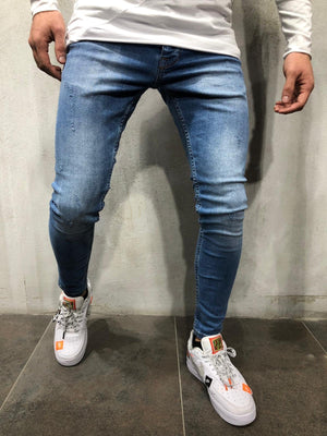 Blue Washed Skinny Fit Jeans A224 Streetwear Mens Jeans - Sneakerjeans