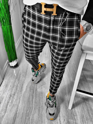 Black Checkered Casual Jogger Pant S163 Streetwear Casual Jogger Pants - Sneakerjeans