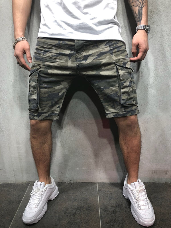 Khaki Camouflage Cargo Pocket Slim Fit Denim Short A95 Streetwear Denim Jeans - Sneakerjeans