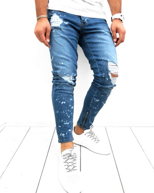 Blue Ankle Zip Distressed Skinny Fit Denim KB120 Streetwear Jeans - Sneakerjeans