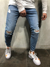 Load image into Gallery viewer, Blue Ripped Skinny Fit Jeans A230 Streetwear Mens Jeans - Sneakerjeans