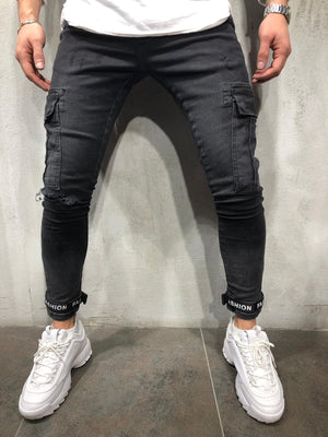 Black Cargo Pocket Ankle Strap Distressed Skinny Fit Denim A258 Streetwear Jeans - Sneakerjeans