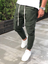 Load image into Gallery viewer, Khaki Banding Front Pocket Jogger Denim Pant B198 Streetwear Johger Jeans