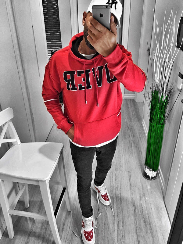 Red Over Printed Hoodie S169 Streetwear Hoodies - Sneakerjeans