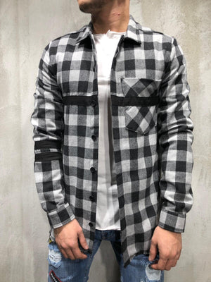Black White Checkered Oversized Shirt A250 Streetwear Shirt - Sneakerjeans