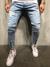 Load image into Gallery viewer, Light Blue Front Ankle Zip Distressed Skinny Fit Denim A185 Streetwear Jeans