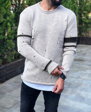 Load image into Gallery viewer, Cream Distressed Sweater B236 Streetwear Sweaters - Sneakerjeans