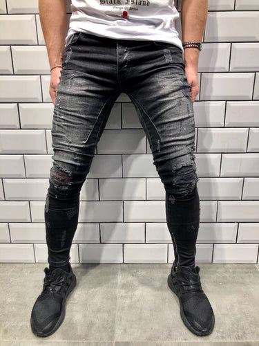 Black Distressed Slim Fit Denim B85 Streetwear Denim Jeans