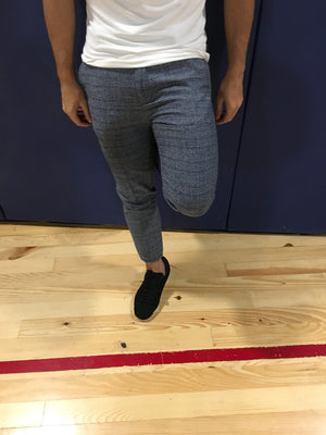 Blue Checker Slim Fit Casual Pant MS367 Streetwear Pant - Sneakerjeans