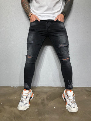 Black Washed Ripped Ultra Skinny Fit Denim BL204 Streetwear Jeans - Sneakerjeans