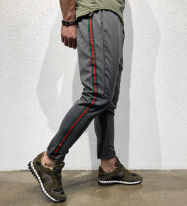 Gray Striped Jogger Pant B145 Streetwear Jogger Pants