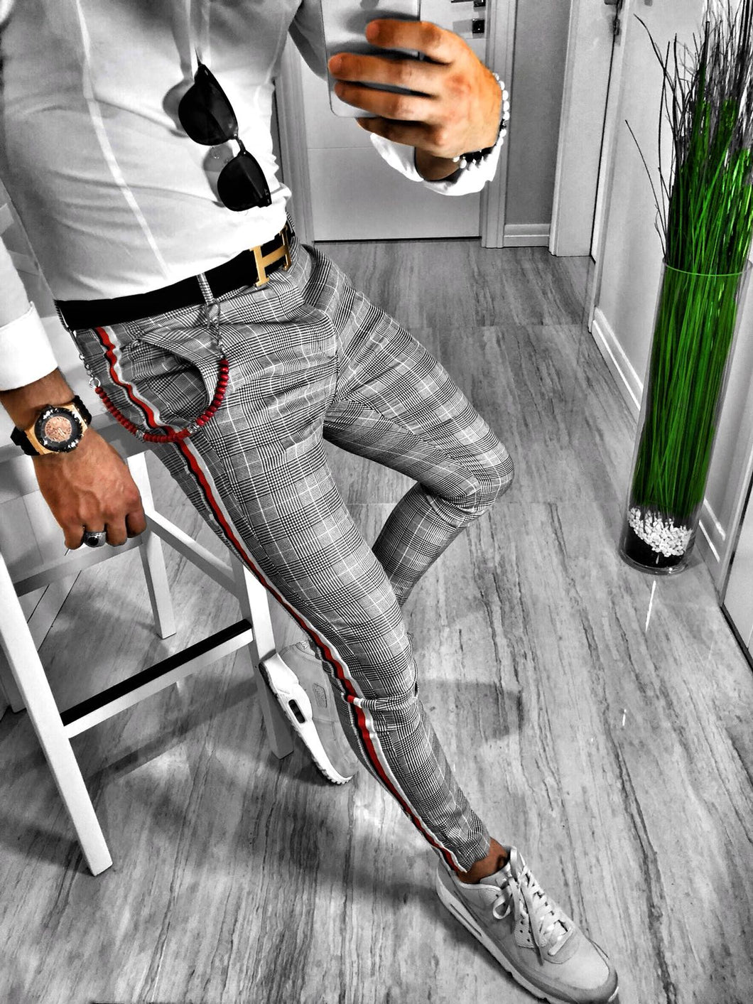 Gray Checkered Side 3 Colours Striped Casual Jogger Pant S107 Streetwear Jogger Pants