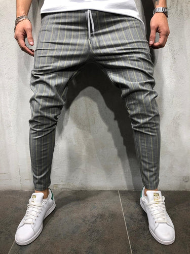 Gray Yellow Striped Casual Jogger Pant A213 Streetwear Casual Jogger Pants