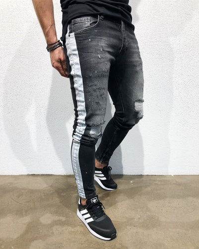 Black Side Striped Skinny Fit Denim B155 Streetwear Denim Jeans