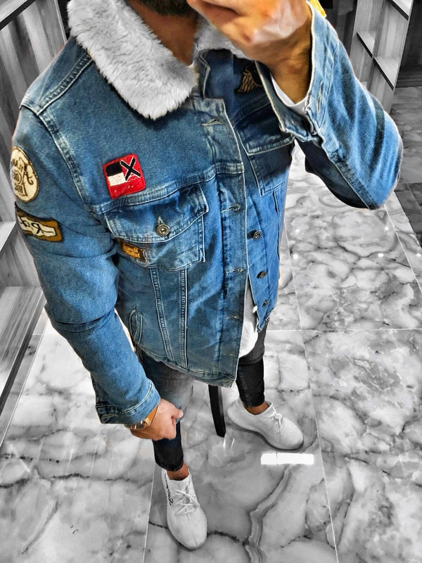 Blue Woolen Patched Denim Jacket S239 Streetwear Denim Jacket - Sneakerjeans