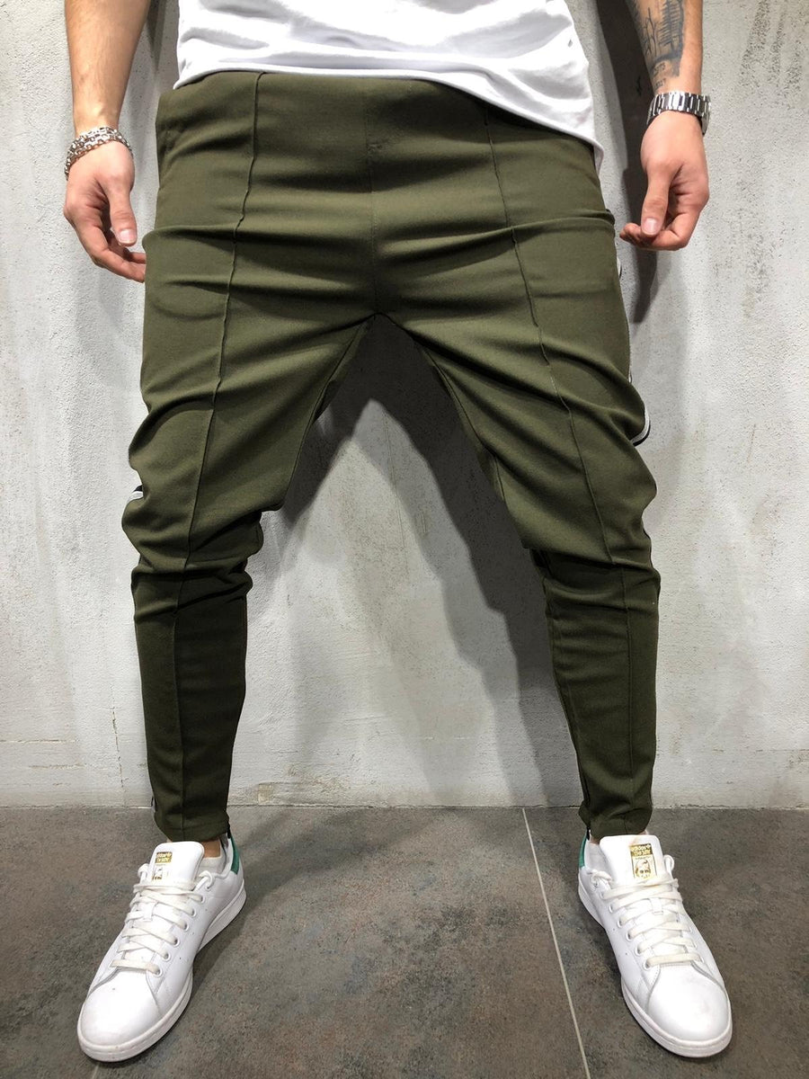 Khaki Side Striped Casual Jogger Pant A297 Streetwear Jogger Pants - Sneakerjeans