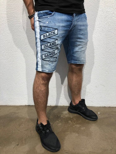 Blue Patched Side Striped Slim Fit Denim Short B167 Streetwear Denim Shorts - Sneakerjeans
