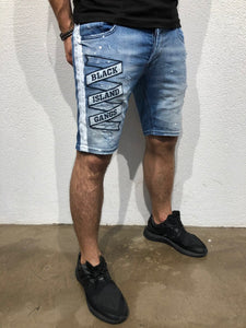 Blue Patched Side Striped Slim Fit Denim Short B167 Streetwear Denim Shorts