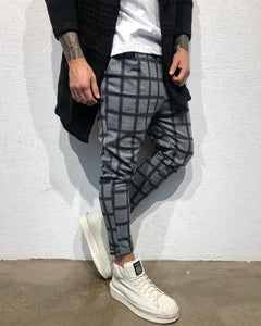 Gray Checkered Baggy Jogger Pant B316 Streetwear Jogger Pants