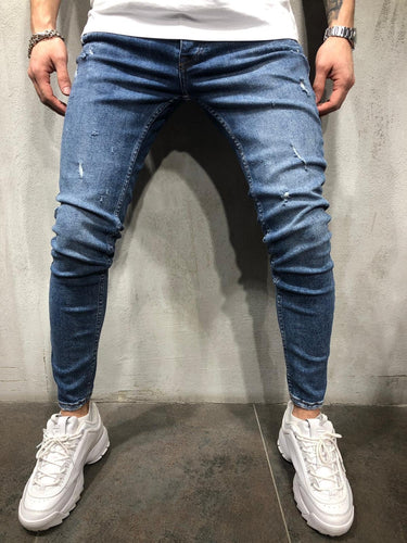 Blue Washed Ultra Skinny Fit Denim AY324 Streetwear Jeans