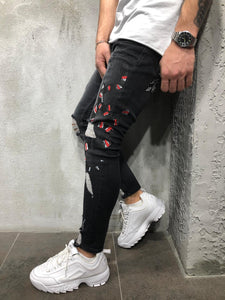 Black Snake Patched Distressed Skinny Fit Denim A229 Streetwear Jeans