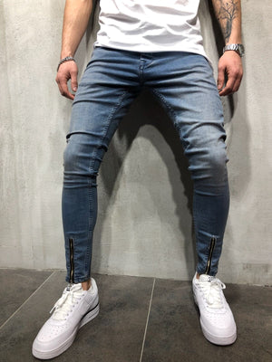 Blue Front Ankle Zipper Slim Fit Jeans A46 Streetwear Denim Jeans - Sneakerjeans