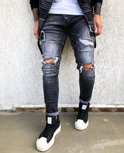 Black Ripped Patched Skinny Fit Denim B274 Streetwear Jeans