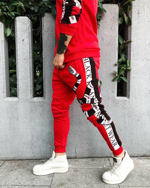 Red Striped Snake Printed Tracksuit BL114 Streetwear Tracksuit - Sneakerjeans