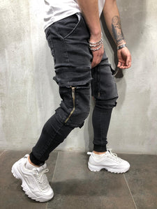 Black Side Big Pocket Banding Ultra Skinny Fit Denim AY316 Streetwear Jeans