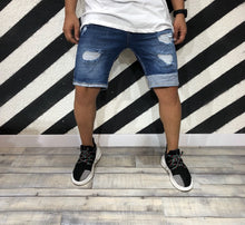 Load image into Gallery viewer, Blue Ripped Skinny Fit Short Denim R114 Streetwear Denim Jeans