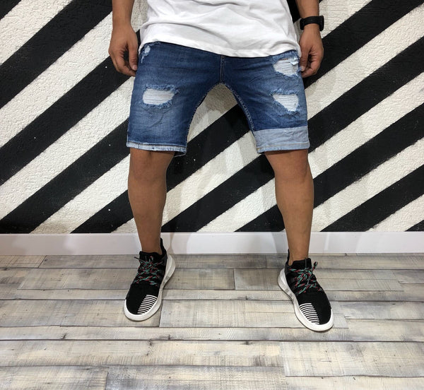 Blue Ripped Skinny Fit Short Denim R114 Streetwear Denim Jeans - Sneakerjeans