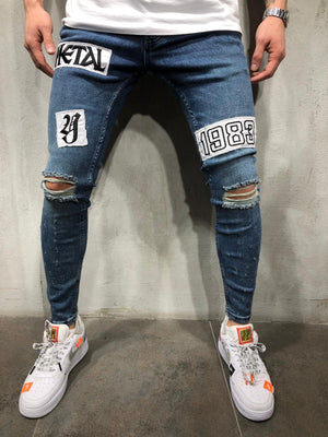 Blue Patched Ripped Ultra Skinny Fit Denim AY362 Streetwear Jeans - Sneakerjeans
