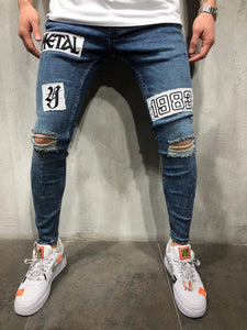 Blue Patched Ripped Ultra Skinny Fit Denim AY362 Streetwear Jeans