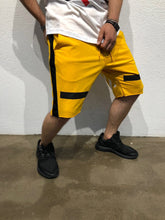 Load image into Gallery viewer, Yellow Black Striped Sweat Short B184 Streetwear Sweat Shorts