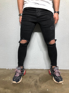 Black Ripped Denim BL239 Streetwear Jeans