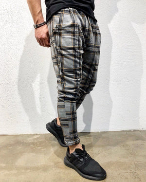 Gray Checkered Jogger Pant B142 Streetwear Jogger Pants - Sneakerjeans