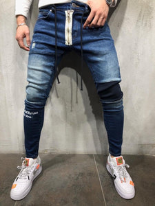 Blue Zippered Banding Distressed Skinny Fit Denim A252 Streetwear Jeans