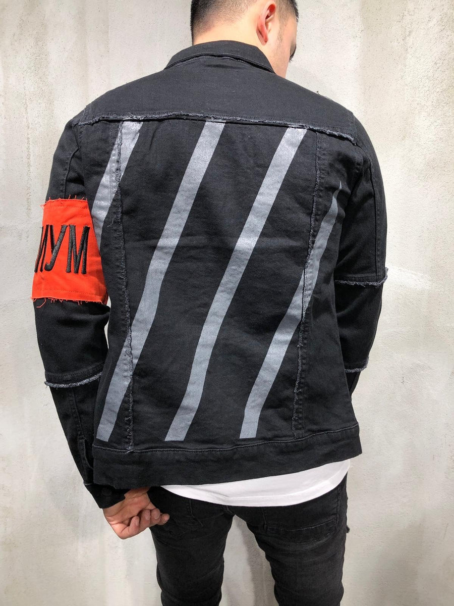Black Sleeve Taped Printed Denim Jacket A369 Streetwear Denim Jacket - Sneakerjeans