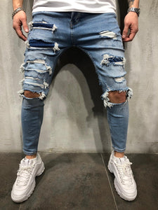 Blue Ripped Patched Ultra Skinny Fit Denim AY312 Streetwear Jeans