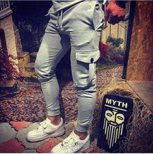 Load image into Gallery viewer, Light Gray Cargo Pocket Jogger Pant HB4 Streetwear Jogger Pants
