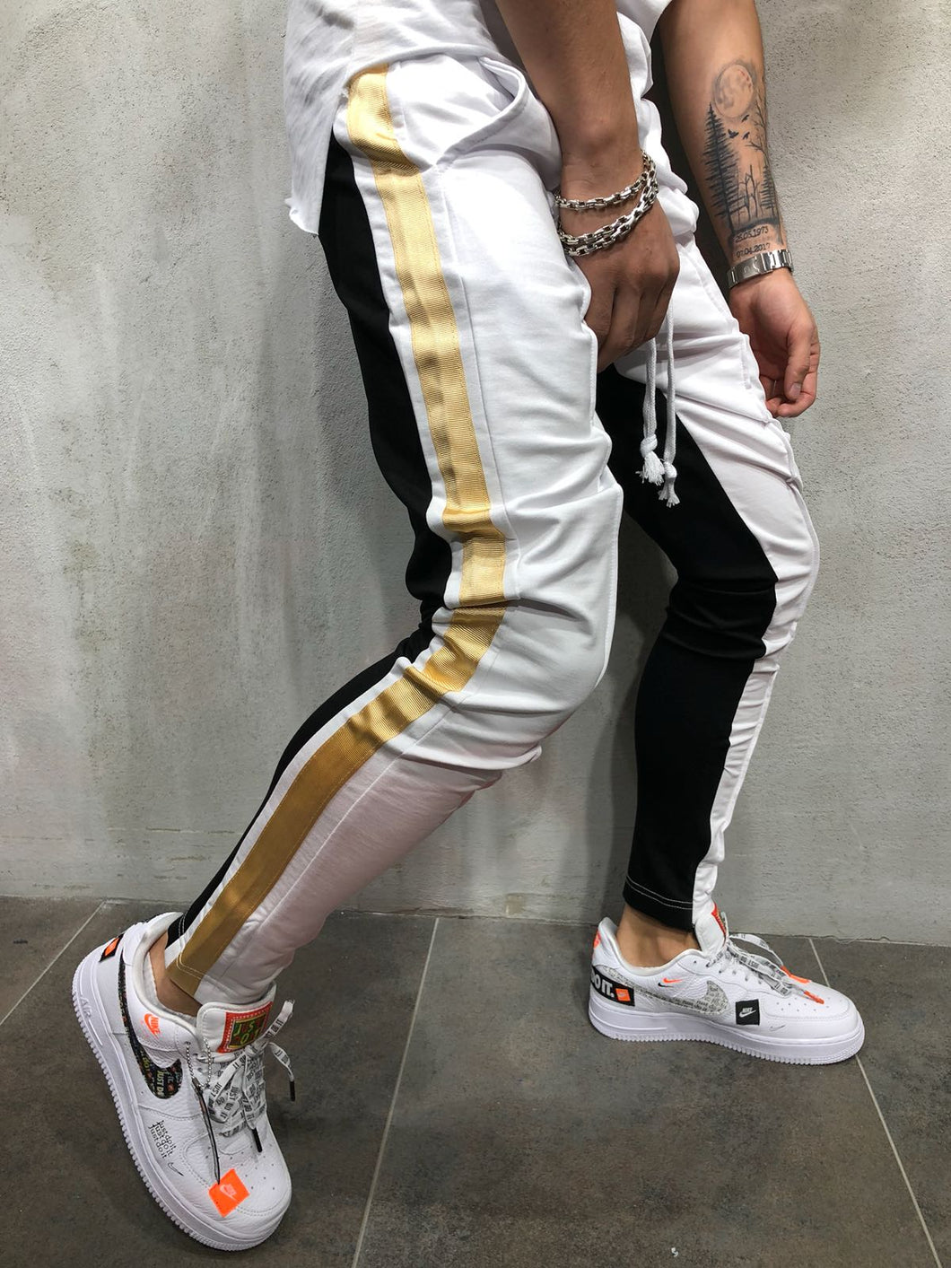 White Gold Striped Jogger Pant A177 Streetwear Jogger Pants - Sneakerjeans