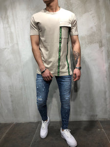 Beige Front Pocket Printed Oversize T-Shirt A49 Streetwear T-Shirts