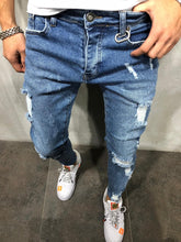 Load image into Gallery viewer, Blue Distressed Skinny Fit Denim A192 Streetwear Jeans