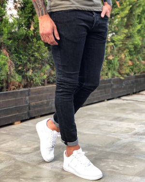 Black Skinny Fit Denim B239 Streetwear Jeans - Sneakerjeans